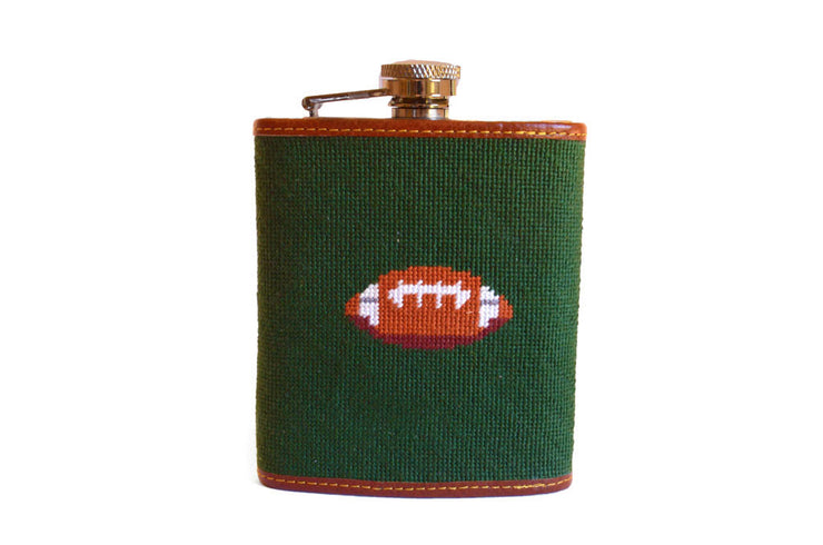 Asher Riley Football Needlepoint Flask