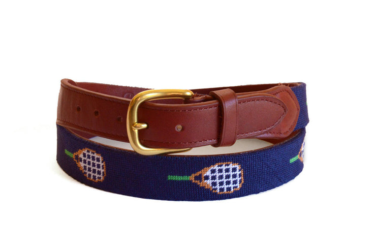 Asher Riley Tennis Racket Needlepoint Belt