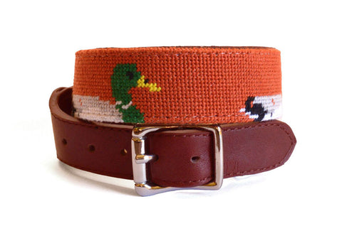 Mallard on orange needlepoint dog collar by Asher Riley