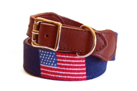 Asher Riley American Flag Needlepoint Dog Collar
