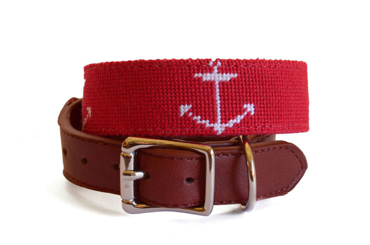 Asher Riley Red and White Anchor Dog Collar