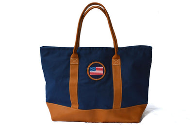 Asher Riley, American Flag needlepoint tote bag