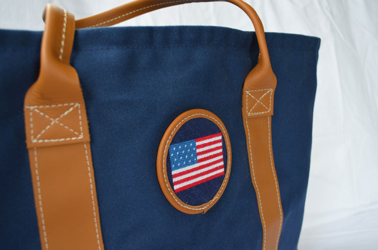 Asher Riley, American Flag, needlepoint tote bag