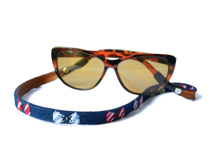 Asher Riley, Bow Tie needlepoint sunglass straps, Ray Bans