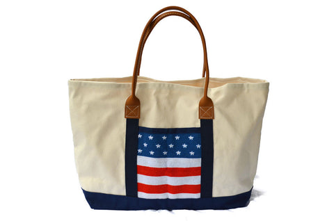 Asher Riley, tote bag, needlepoint american flag