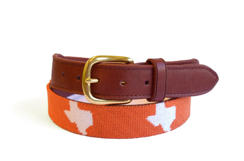 Asher Riley State of Texas on Orange Needlepoint Belt