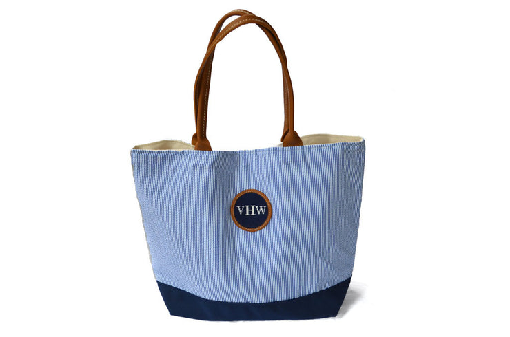 Seersucker Striped Monogram Tote