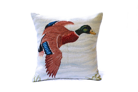 Asher Riley, Mallard needlepoint pillow
