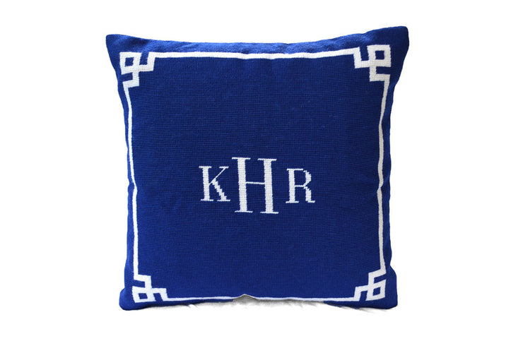 Asher Riley, monogram needlepoint pillow