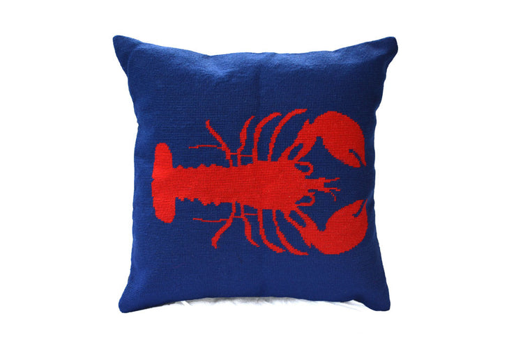 Asher Riley lobster vintage needlepoint pillow