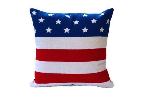 Asher Riley American Flag needlepoint pillow