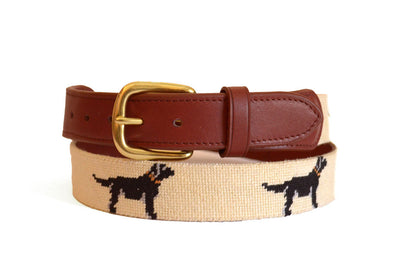 Asher Riley Black Dog on Creme Needlepoint Belt