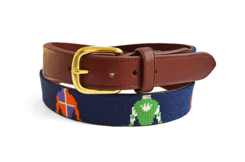 Asher Riley Jockey Silk Needlepoint Belt