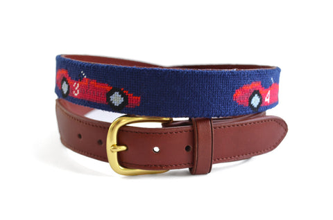 Asher Riley Race Car Needlepoint Belt