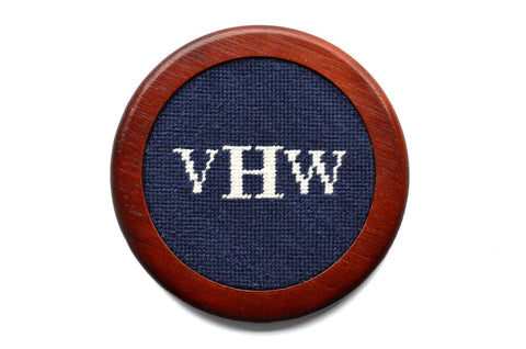 Asher Riley Monogrammed Needlepoint Coaster