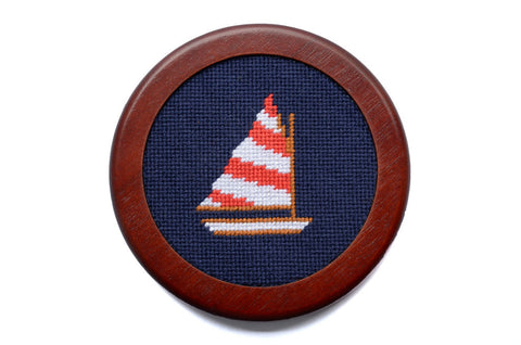 Asher Riley Sailboat Needlepoint Coaster