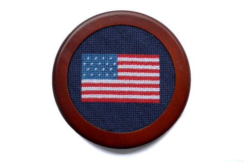 Asher Riley American Flag Needlepoint Coaster