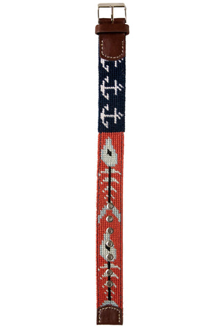 Asher Riley bonefish and anchor needlepoint watch strap