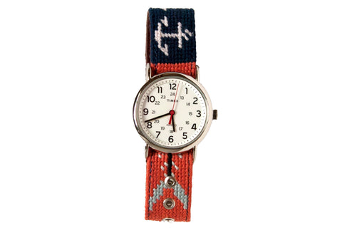 Fish and Anchor Needlepoint Watch Asher Riley