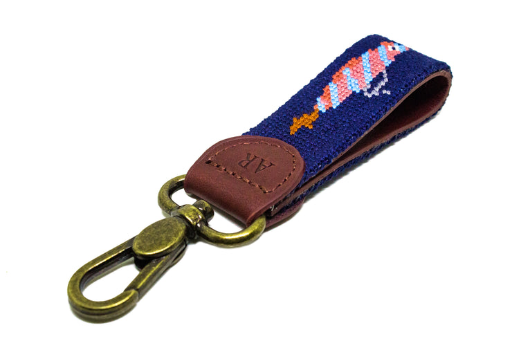 Fish Bait Needlepoint Key Fob by Asher Riley