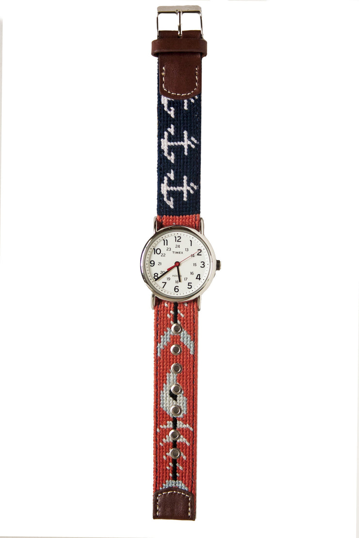 Fish and Anchor Needlepoint Watch strap by Asher Riley with Timex Watch Face