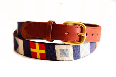 Nautical Flag needlepoint belt by Asher Riley