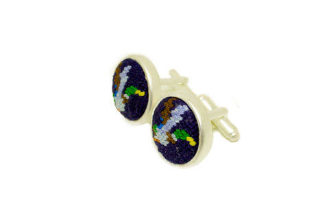 Asher Riley flying mallard needlepoint cufflinks