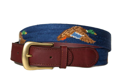 Flying Mallard Navy needlepoint belt by Asher Riley