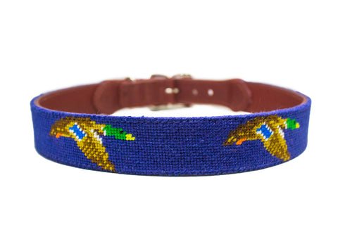 Flying mallard needlepoint dog collar by Asher Riley