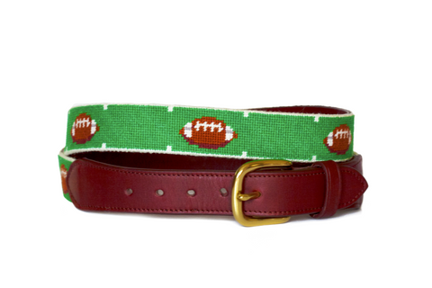 Asher Riley football needlepoint belt