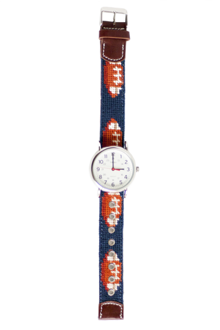 Asher Riley football needlepoint watch strap with Timex Watch Face