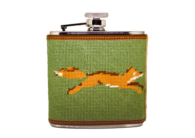 Fox Needlepoint flask by Asher Riley