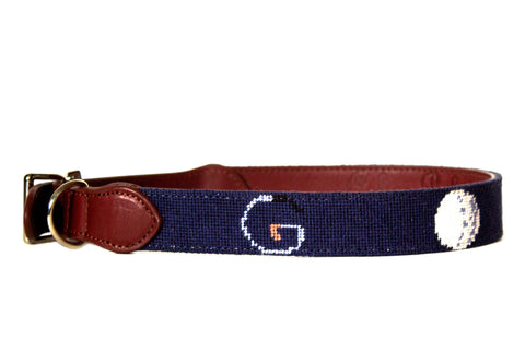 G-O-L-F needlepoint dog collar by Asher Riley