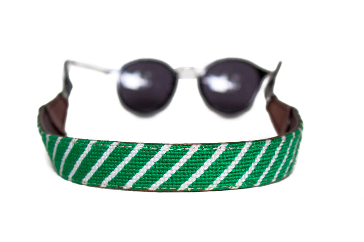 Green and white stripe needlepoint sunglass straps by Asher Riley