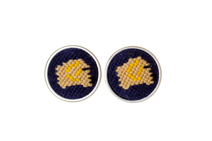 Golden Retriever needlepoint cufflinks by Asher Riley
