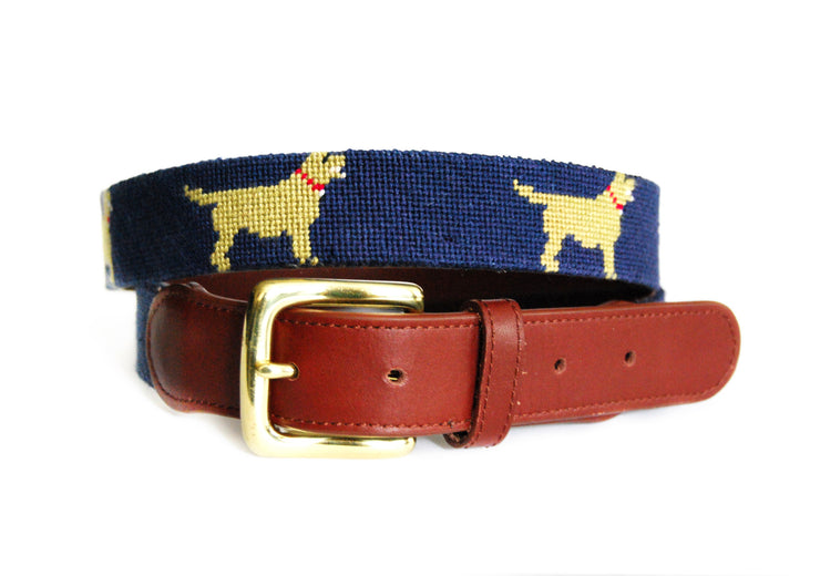 Golden Retriever needlepoint belt by Asher Riley