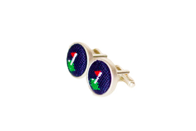 Asher Riley golf flag needlepoint cufflinks