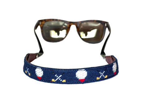 Asher Riley, golf needlepoint sunglass straps, Ray Bans