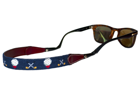Asher Riley, golf needlepoint sunglass strap, Ray Bans