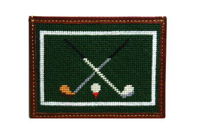 Golf clubs needlepoint card wallet