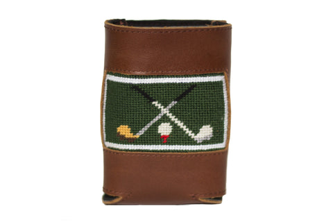 Golf Club needlepoint can cooler leather koozie