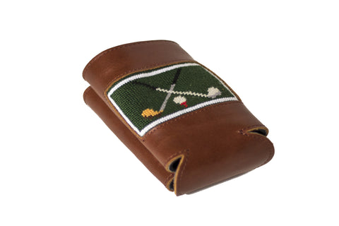 Golf Club needlepoint can cooler leather koozie by Asher Riley