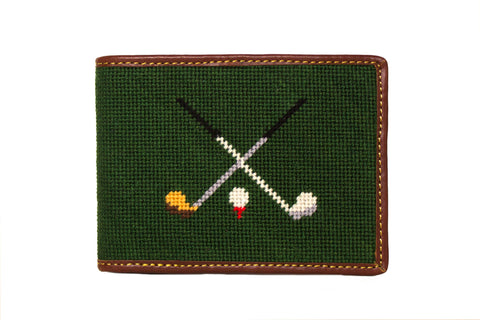 Asher Riley golf clubs needlepoint wallet