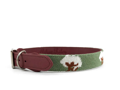 COTTON BOLL ON GREEN NEEDLEPOINT DOG COLLAR™