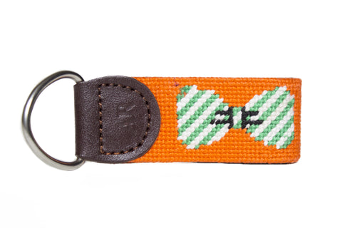 seersucker bowtie needlepoint key fob by asher riley
