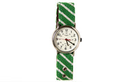 Green Striped Needlepoint Watch Strap by Asher Riley and Timex Watch Face