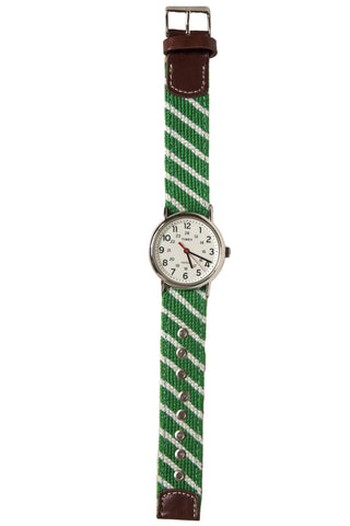 Green Striped Needlepoint Watch Strap Asher Riley
