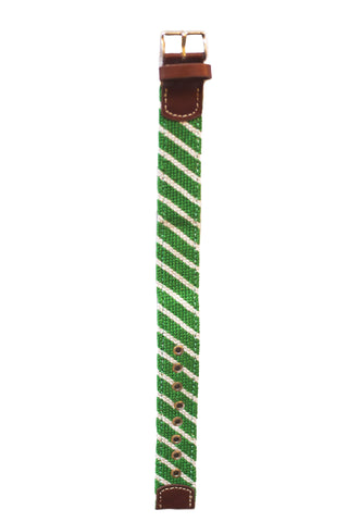 Asher Riley green and white stripe needlepoint watch strap