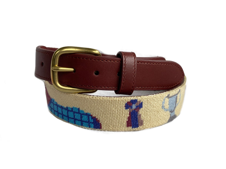 DERBY HORSE CREME NEEDLEPOINT BELT