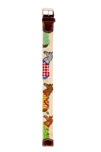 Asher Riley equestrian needlepoint watch strap
